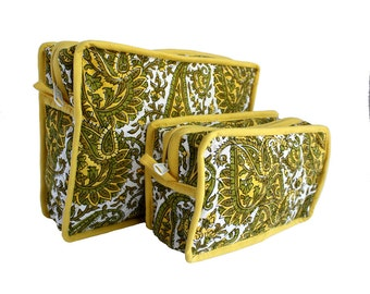 Unisex Wood Block Print Toiletry Green Paisley Print