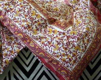 Bohemian Flowering Vine Wood-Block Printed Duvet in Reds, greys, and yellow.