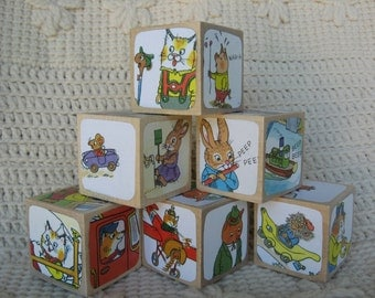 Richard Scarry Picture Book Wooden Blocks