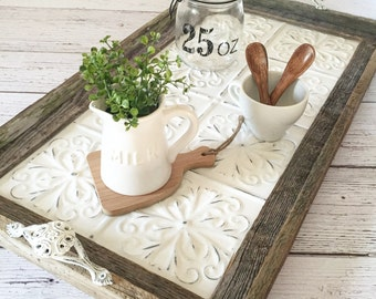 Vintage Style Barnwood Ceiling Tin Rustic Serving Tray Decorative Tray (Floral Design)