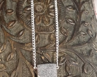 Granite clay & silver tone necklace
