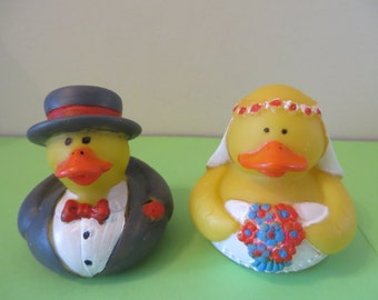 Specialty Rubber Duck Bride and Groom  - I will paint duckies to match your wedding theme colors
