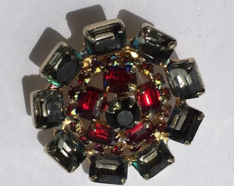 Vintage 50s Ladies Rhinestone Brooch Pendant Pin
