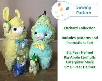 A4 SIZED Orchard Themed Amuse Alpacasso Sewing Patterns! Pear Helmet, Apple Ear Muff, Caterpillar Mask