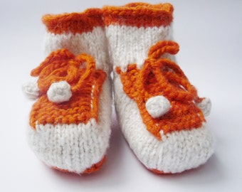 baby shoes, baby booties, baby boots, baby ugg boots, orange and white, orange, white, baby boy, baby girl, toddler shoes, baby socks