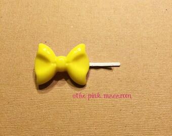 Yellow Bow Bobby Pin, Yellow Bow Hair Clip, Bow Hair Clip, Kawaii Bow