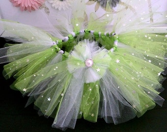 0-3 Months Green and White Tutu