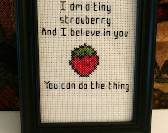 Tiny strawberry motivational cross stitch