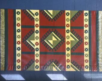 Red Kazaak Oriental Hand Painted Floor Cloth with Fringe