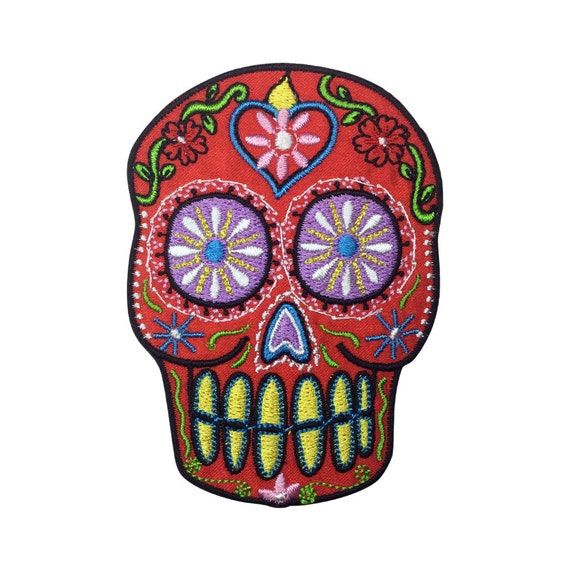 Sugar Skull Patch Embroidered Red Face Iron on Patch Pretty