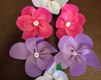 Flower Ribbon Sculpture/ Hair Clips