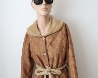 Beautiful Vintage Faux Sheepskin Button Up Coat With Belt