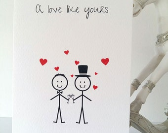 Gay Wedding Card, Groom and Groom, Mr & Mr, Gay, Gay Wedding, Wedding, Birthday, New Baby, Love, Father's Day, Stickmen, Handmade Active