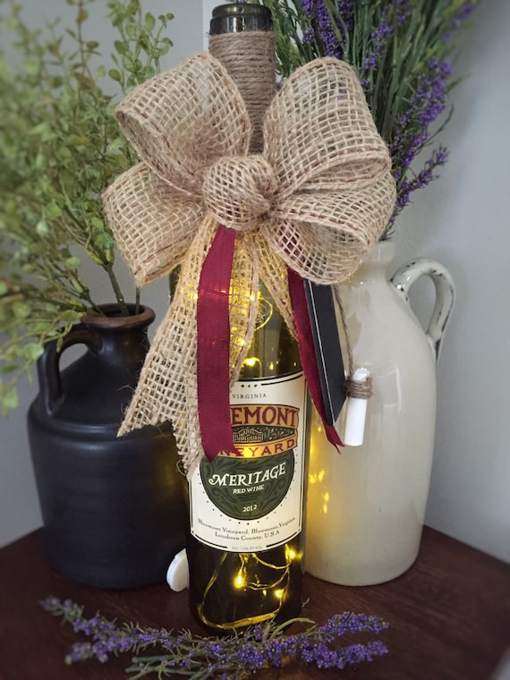 Wine Bottle Decor/Cordless Lamp /Recycled Glass/Farmhouse Chic/Country Decor/Wine Lover Gift/Drink Local/LED Lights/Vineyard Wedding/Twine