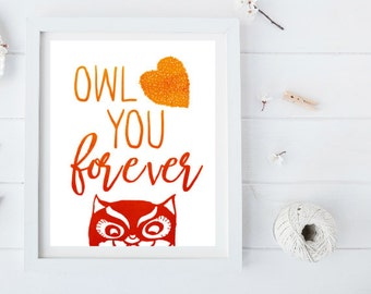 Owl Love you Forever Orange Watercolor Digital Print
