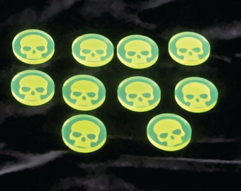 Set of 10 Skull Tokens - Fluor Green