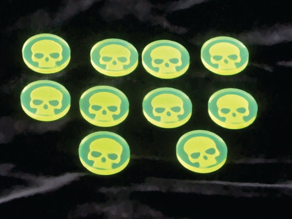 Set Of 10 Skull Tokens Fluor Green