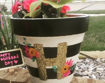 Hand Painted Monogram Initial Flower Pot