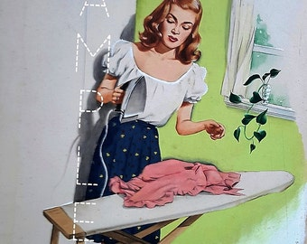Vintage print, housework, ironing,laundry, 1940s, baby boomer, retro art, collectibles, Suzy Homemaker