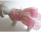 Pink and Cream Eyelet Fancy Dog Dress Pet Clothes Pet Dress