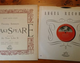 RARE 1950's Dame Edith Evans: Shakespeare - Twenty Sonnets LP - In VG+ Condition! Very Collectible!