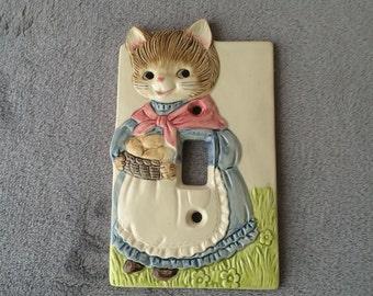 OTAGIRI, ceramic switch cover, kitty, vintage
