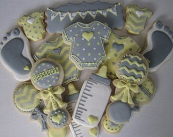 Neutral baby shower cookies/new arrival/welcome baby