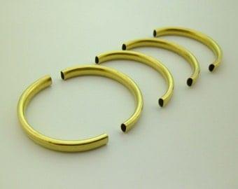 10pcs Yellow Raw Brass Eco-friendly Half Circle Tubes Findings 60x30mm 0110-0306