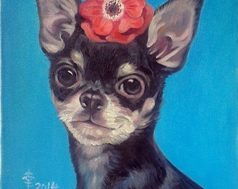 Pet Portrait Black Chihuahua with Red Flower on Blue Background Oil on Canvas