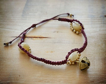 Macrame anklets with stones, small gold beads and bells
