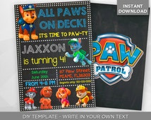 SALE - 80% OFF Paw Patrol Invitation, Pawty Birthday Party Invite, Chase Paw-ty Invite, Editable Printable Digital PDF - Instant Download