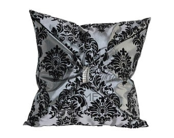 Damask Bow Throw Pillow Cover