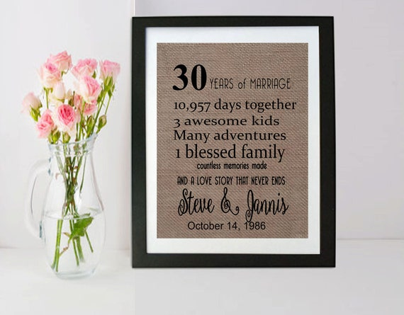 Gift For 30 Wedding Anniversary: 30th Anniversary Gift 30 Year Anniversary Gift For Parents