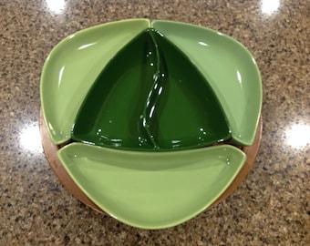 Green Condiment/Relish Tray on a Wood Lazy Susan - Santa Anita Ware, California Pottery