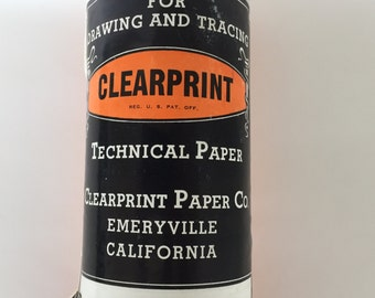 20 yards 24 inch Clearprint 1000H technical paper Clearprint paper Co Emeryville CA vintage drafting tracing roll engineering drafting tools