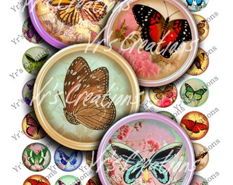 BUTTERFLIES & FLOWERS - Digital Collage Sheet - 1 inch circles - Pendants, Magnets, Stickers, Jewellry, Mixed Media and Crafts