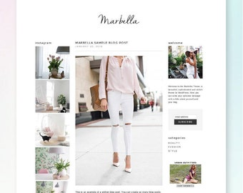 WordPress Blog Theme - MARBELLA - eCommerce Blog Template - WordPress Website Theme Design
