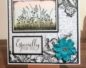 Wildflower sillhouette birthday card