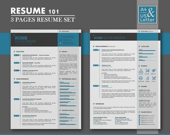 resume template cv template cover letter template 3 page creative and modern - Template Of A Resume