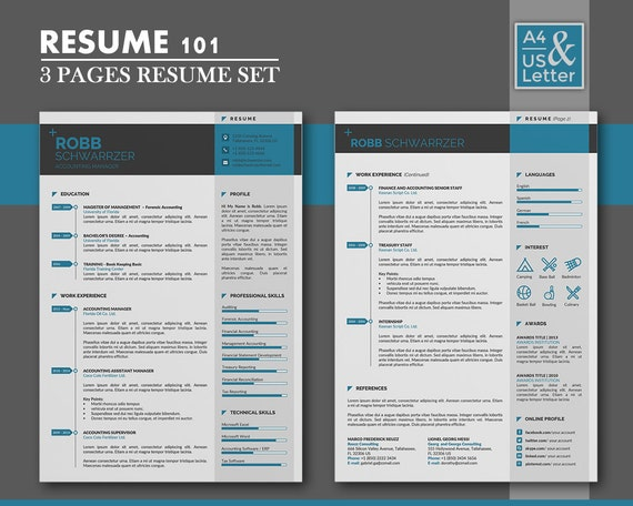 resume template cv template cover letter template 3 page