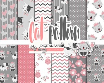 50% OFF SALE  Cats digital paper, cute digital paper, cat pattern, scrapbook papers, cats background, Printable Background, 12 JPG.