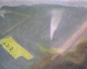 Landscape with Smoke (2015), Original Soft Pastel Painting
