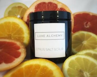 Citrus Salt Body Scrub | Energizing Grapefruit, Orange and Lemon Essential Oil Sea Salt Body Scrub with Luxurious Oils for Smooth Skin
