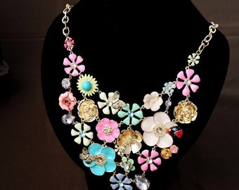 Floral enamel necklace