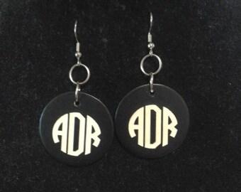 Engraved Large Monogrammed Earrings