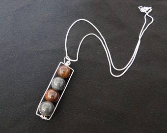 Grey and Brown Glass Bead Necklace