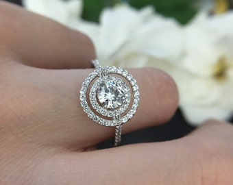 1 ct. TW Double Square Halo Ring - Split shank Engagement Ring - Brilliant Cut Diamond Simulant- Bridal Ring - 925 Sterling Silver