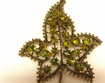 Vintage Maple Leaf Brooch with  chartruse green stones