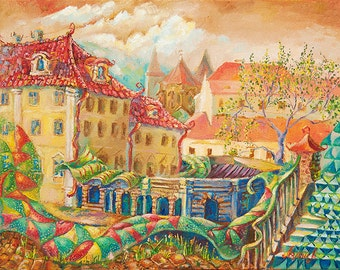 "Painting, painting, art, oil on canvas, impressionism ""Prague mood"""