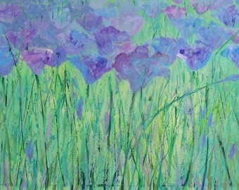 "SALE Original painting blue flowers field acrylic on gallery rap canvas 40"" x 28"" x 2"" dinning living room art"
